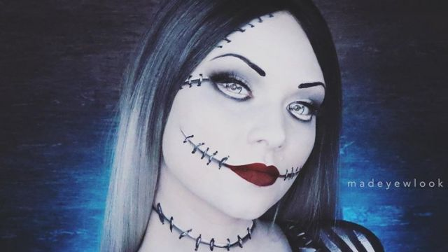 YouTuber Madeyelook paints herself as the female Jack Skellington for a video
