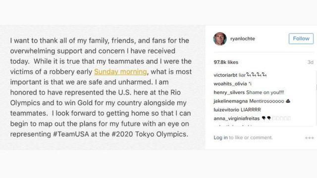 Post de Ryan Lochte explicando o suposto roubo no Instagram foi bombardeado por comentários chamando o atleta de mentiroso - há críticas tanto de brasileiros como americanos