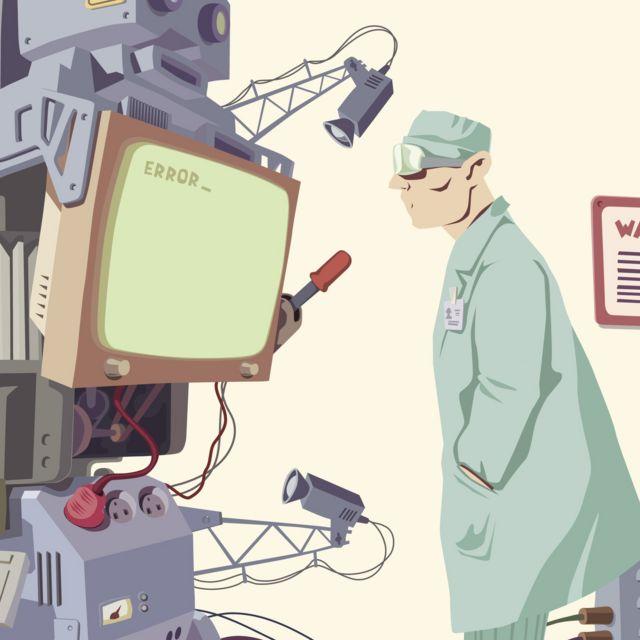 Hombre y robot, ilustración.