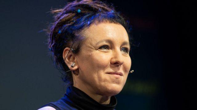 Olga Tokarczuk en el Hay Festival de Gales, 2018.