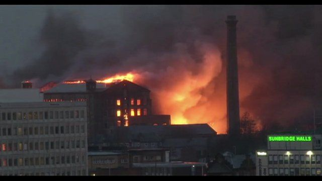 Former mill fire in Bradford