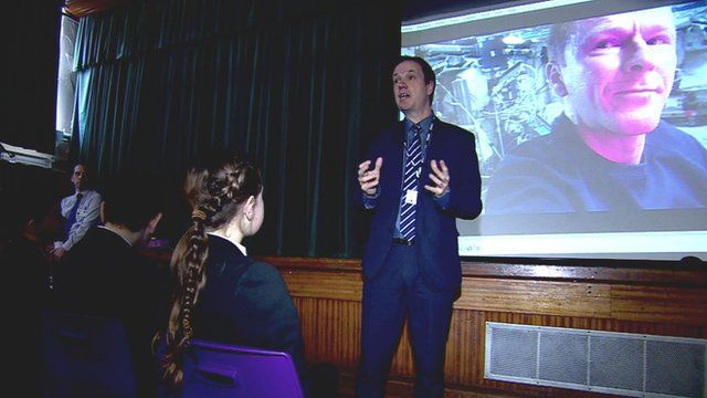 Pupils watch video of Tim Peake