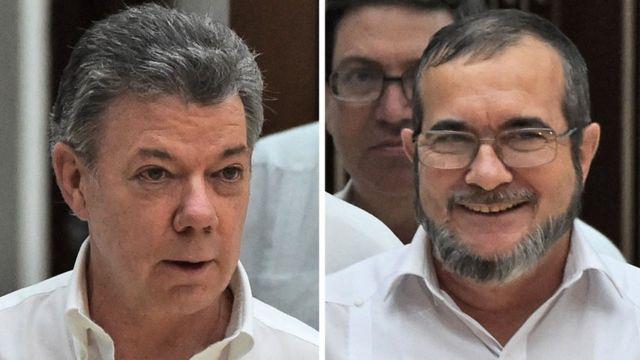 O presidente da Colômbia, Juan Manuel Santos, e o líder guerrilheiro Timoleon Jimenez, o Timochenko