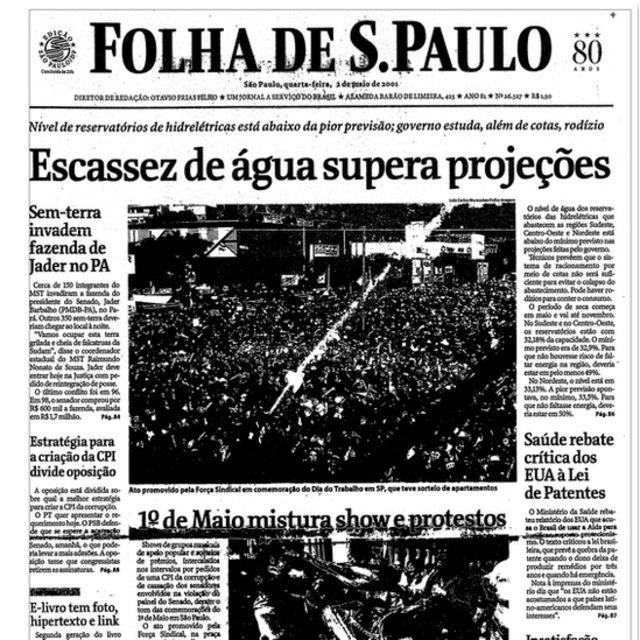 Capa da Folha em maio de 2001: 'Escassez de água supera projeções'
