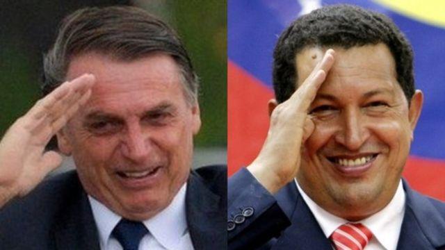Jair Bolsonaro e Hugo Chávez batem continência