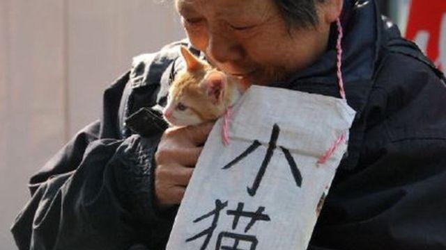 子猫の引き取り手を探す女性