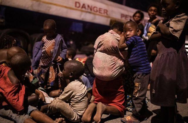 Children fleeing the volcano