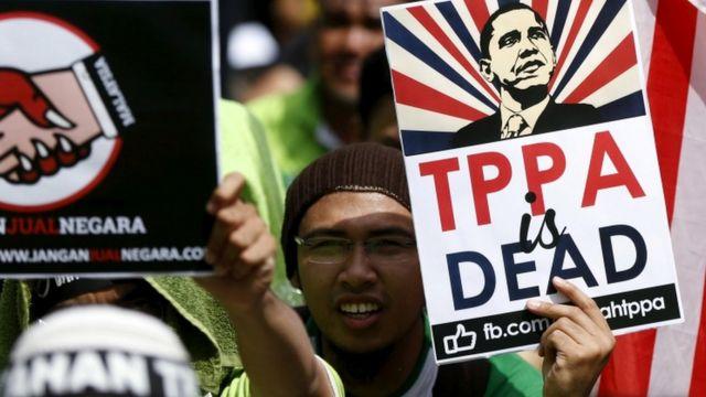 Malezya'da düzenlenen serbest ticaret anlaşması karşıtı bir eylem