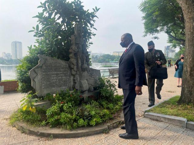 US Secretary of Defense Lloyd Austin visits the site where the plane of the late US Senator John McCain was shot down