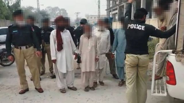 The alleged culprits pictured in police custody