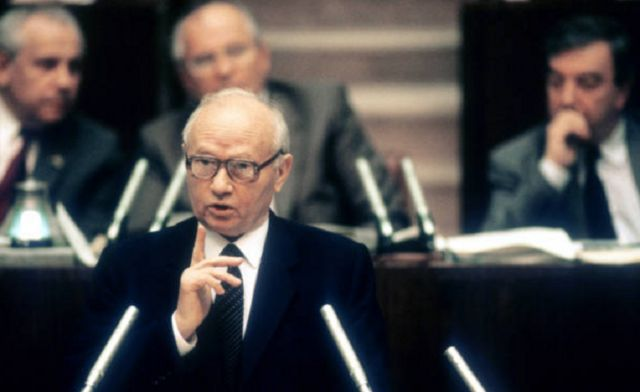 Chairman of the Committee for State Security KGB Vladimir Kryuchkov (1924 - 2007) during session of the USSR Supreme Soviet of XII convocation in Moscow, Soviet Union, July 1989