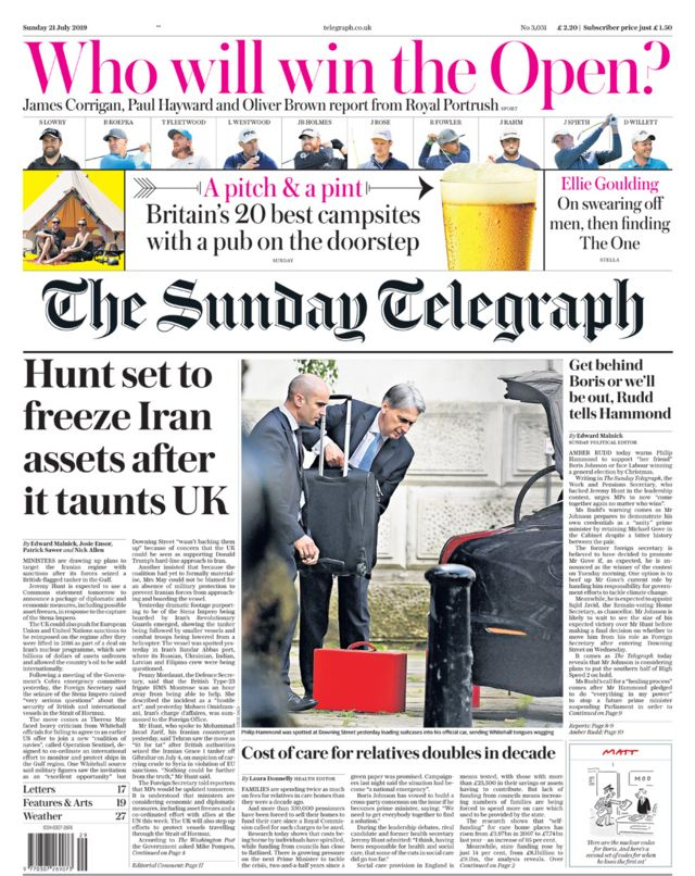 Newspaper headlines: Iran 'taunts' UK and 'new bed for Boris'