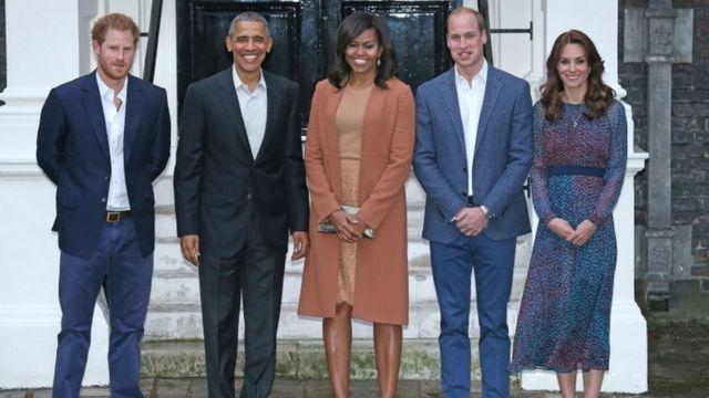 Obama n'umugore we Michelle bifotozanya n'igikomangoma Harry, igikomangoma William n'umugore we Kate