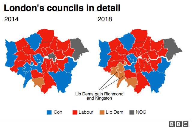 Map of London indicating Liberal Democrat gains in Richmond and Kingston