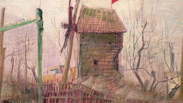 Detalle de un molino en la pintura