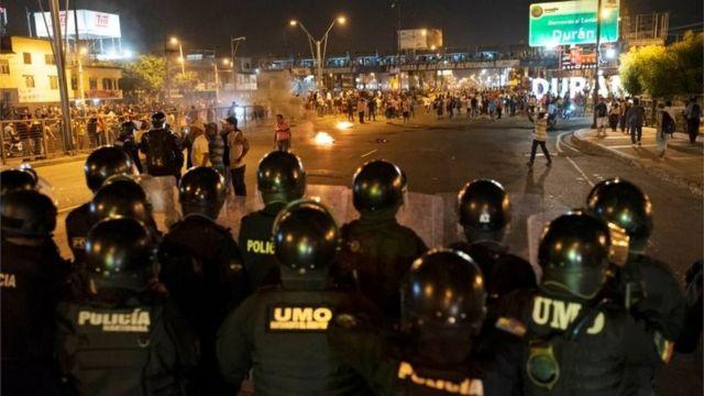 Una protesta en Quito