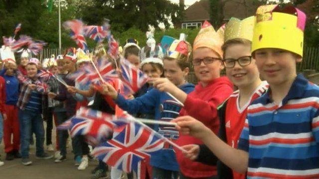 School children celebrate the Queen's 90th birthday in Abergavenny