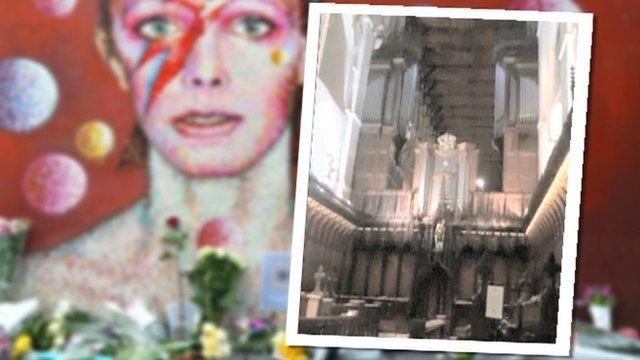 Image of David Bowie mural and St Albans Cathedral organ