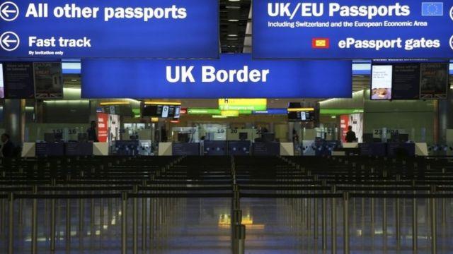 Border control at a UK airport