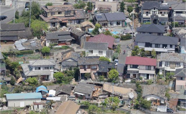 益城町では数多くの家屋が破損した