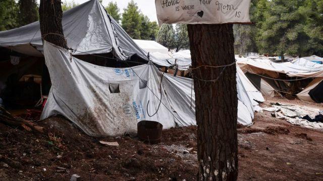 Refugee camp near Athens