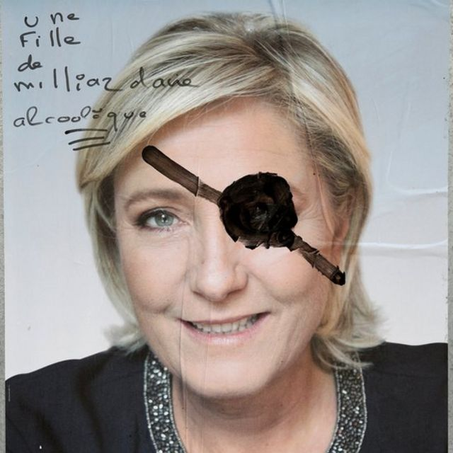 Cartel de la campaña de Marine Le Pen