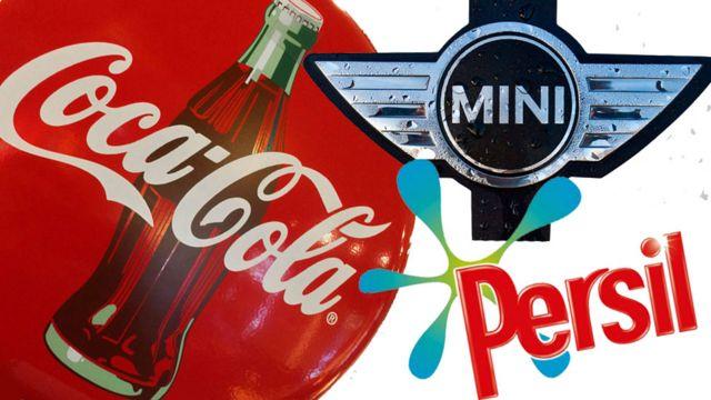 Coca Cola, Mini y Persil logos