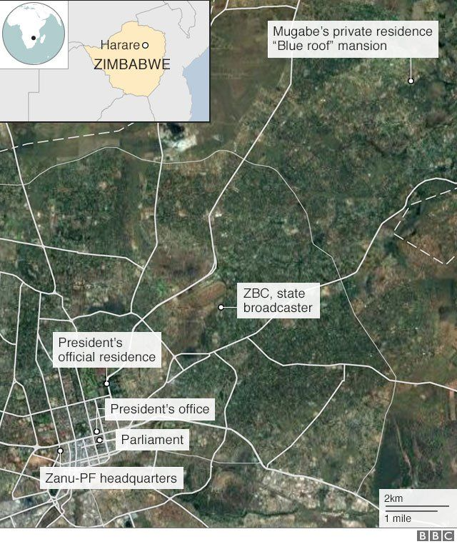 "A map showing the location of the ""blue roof"" mansion in relation to key buildings in Harare"