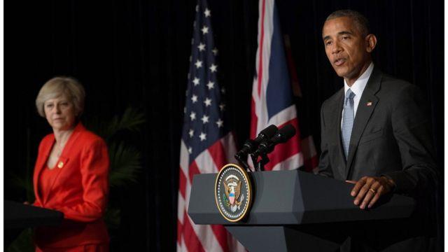 """Барак Обама и Тереза Мэй на саммите """"Большой двадцатки"""""""