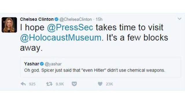 """Chelsea Clinton: """"Umarım Basın Sözcüsü'nün Holokost Müzesi'ni ziyaret etmeye vakti olur. Sadece birkaç blok ötede."""""""