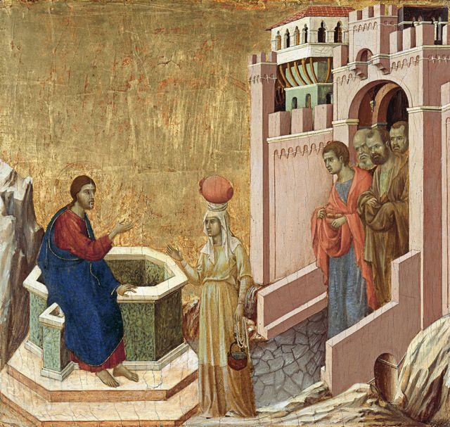 Cristo e a Samaritan, de Duccio di Buoninsegna (1310-1311)