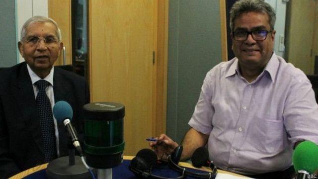 बीबीसी हिंदी स्टूडियो में डेंज़िल कीलर के साथ रेहान फ़ज़ल.