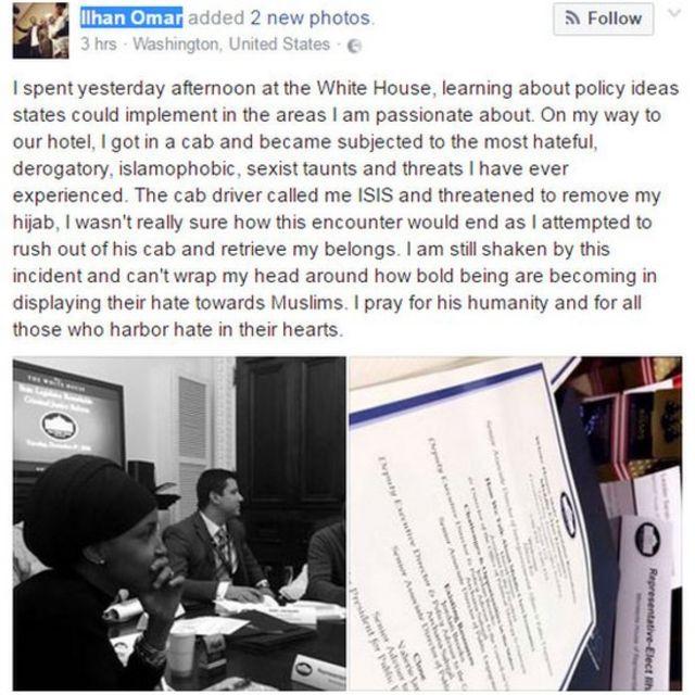 Ilhan Omar explique sa mésaventure via un poste sur Facebook