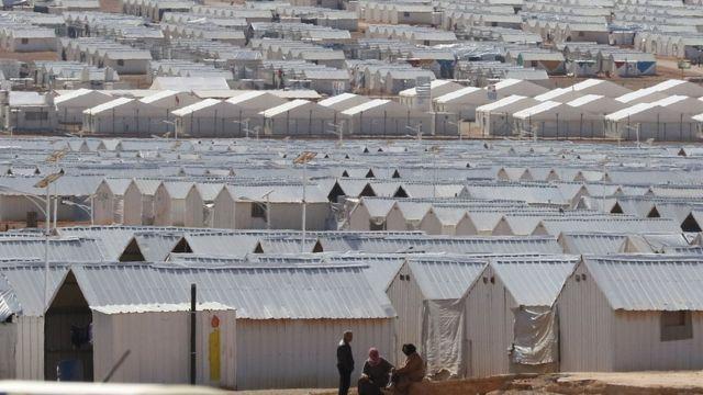 ヨルダンのシリア難民キャンプ(先月30日)