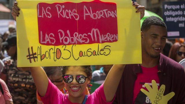 Manifestación a favor de la despenalización del aborto al menos bajo tres causales en República Dominicana