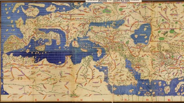 Рожерова карта Мухаммада аль-Идриси (1154 год), перевернутая так, чтобы вверху находился север