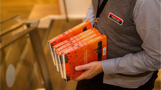 A member of staff at Foyles' main book shop in London