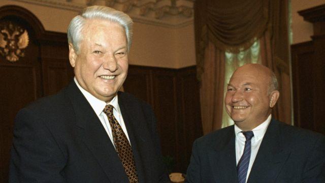 Борис Ельцин и Юрий Лужков 29 июня 1996 года