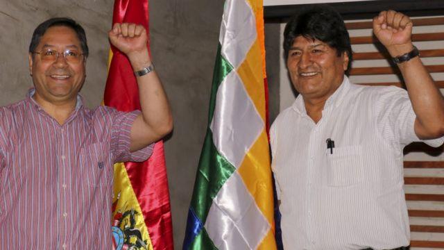 Arce e Evo Morales, em arquivo de foto