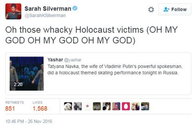 US comedian Sarah Silverman was appalled by the light-hearted take on the holocaust