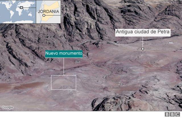 Mapa muestra la antigua ciudad de Petra