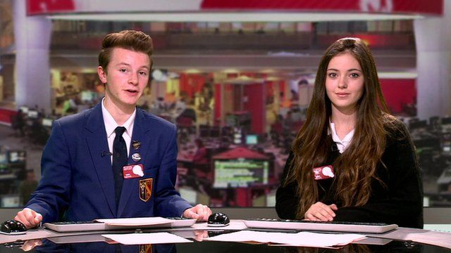 School Reporters present the special News Day TV news bulletin
