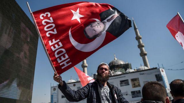 مواطن يحمل علما عليه صورة إردوغان