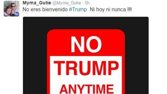 Myrna_Gutieさんは「トランプを歓迎しない。今日も。決して」とツイートした