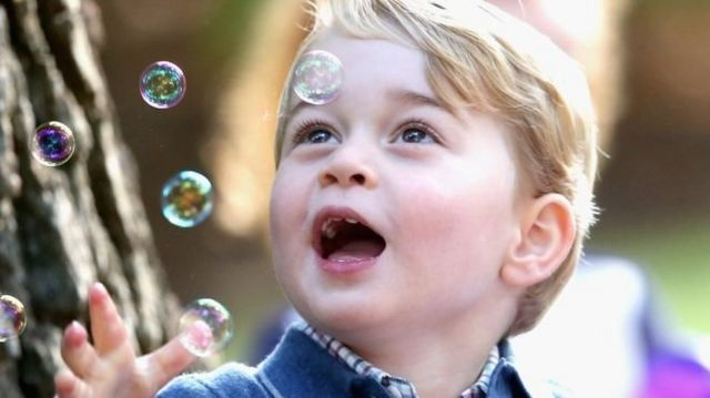 29 September 2016: Prince George playing with bubbles at a party for military families in Canada.