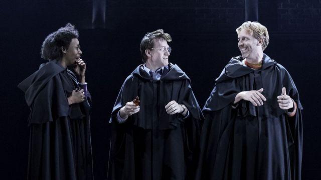 L-R Noma Dumezweni (Hermione Granger), Jamie Parker (Harry) and Paul Thornley (Ron Weasley)