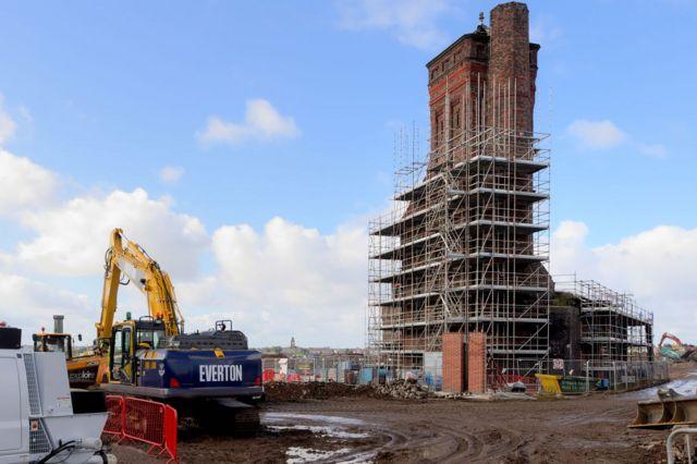 General view of building work at Bramley-Moore Dock.