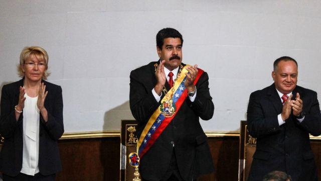 Luisa Ortega, Nicolás Maduro y Diosdado Cabello