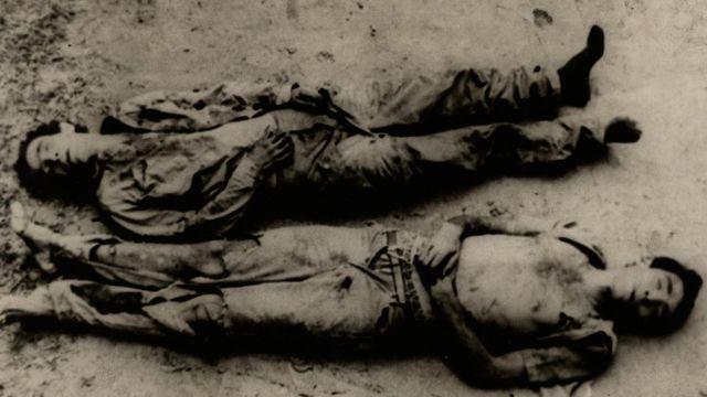 Corpos de Carlos Lamarca e seu companheiro Zequinha, executados em 17 de setembro de 1971