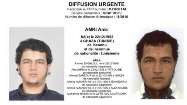 अनीस आमरी के लिए जारी की गई नोटिस का एक फ़्रेंच संस्करण